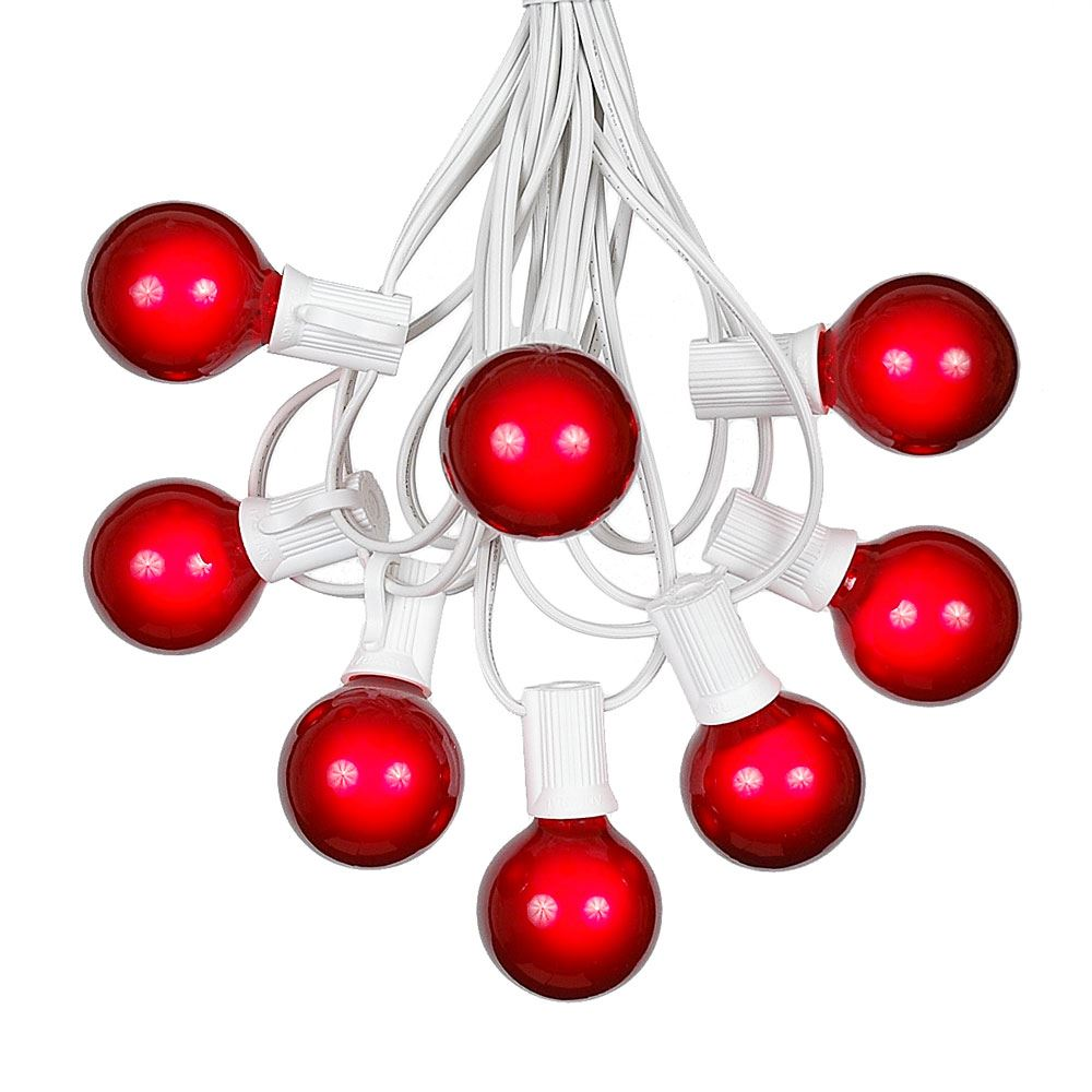 Picture of 100 G40 Globe String Light Set with Red Satin Bulbs on White Wire
