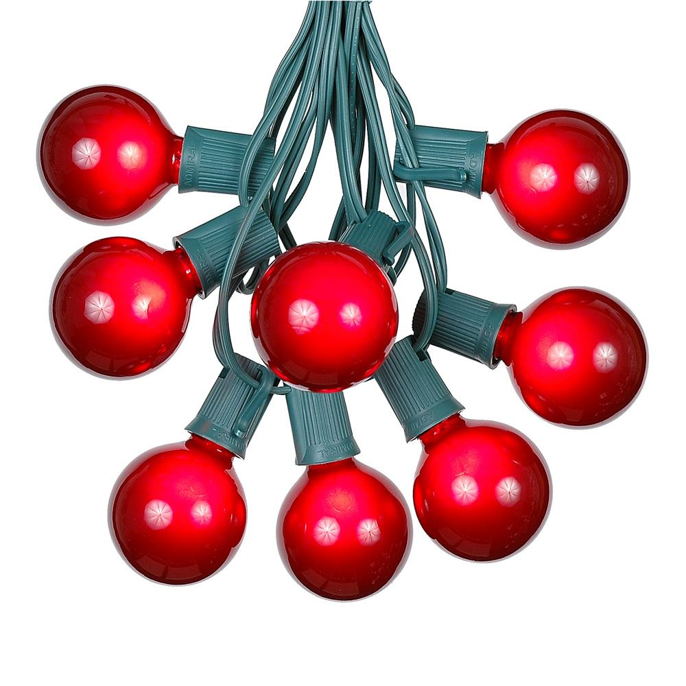 Picture of 25 G50 Globe Light String Set with Red Bulbs on Green Wire