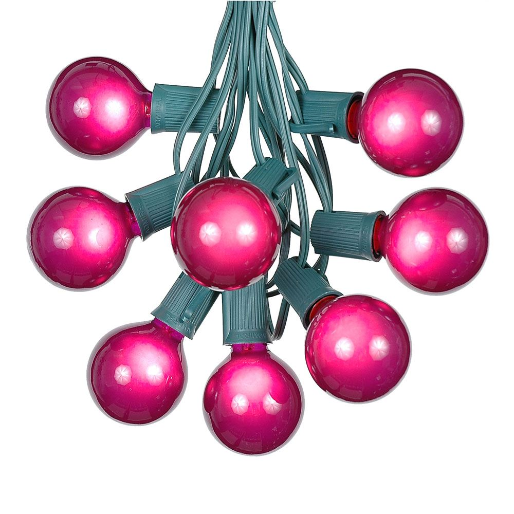 Picture of 25 G50 Globe Light String Set with Purple Bulbs on Green Wire