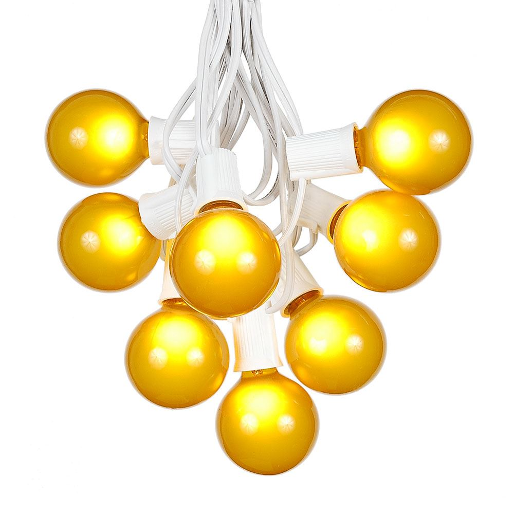 Picture of 25 G50 Globe Light String Set with Yellow Bulbs on White Wire