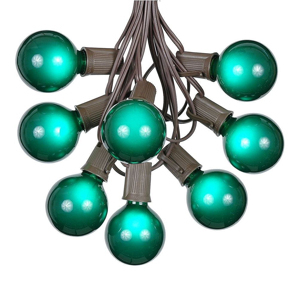 Picture of 25 G50 Globe Light String Set with Green Bulbs on Brown Wire