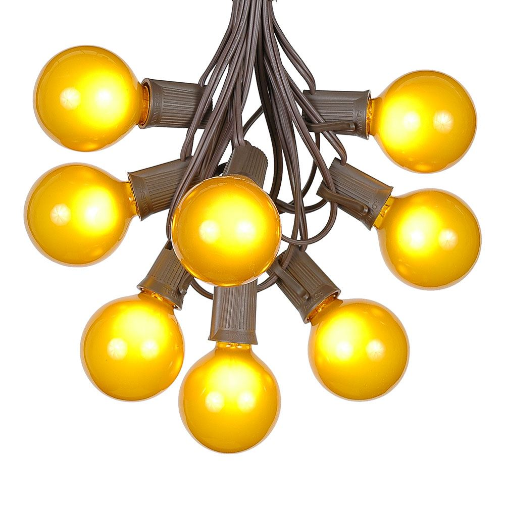 Picture of 25 G50 Globe Light String Set with Yellow Bulbs on Brown Wire