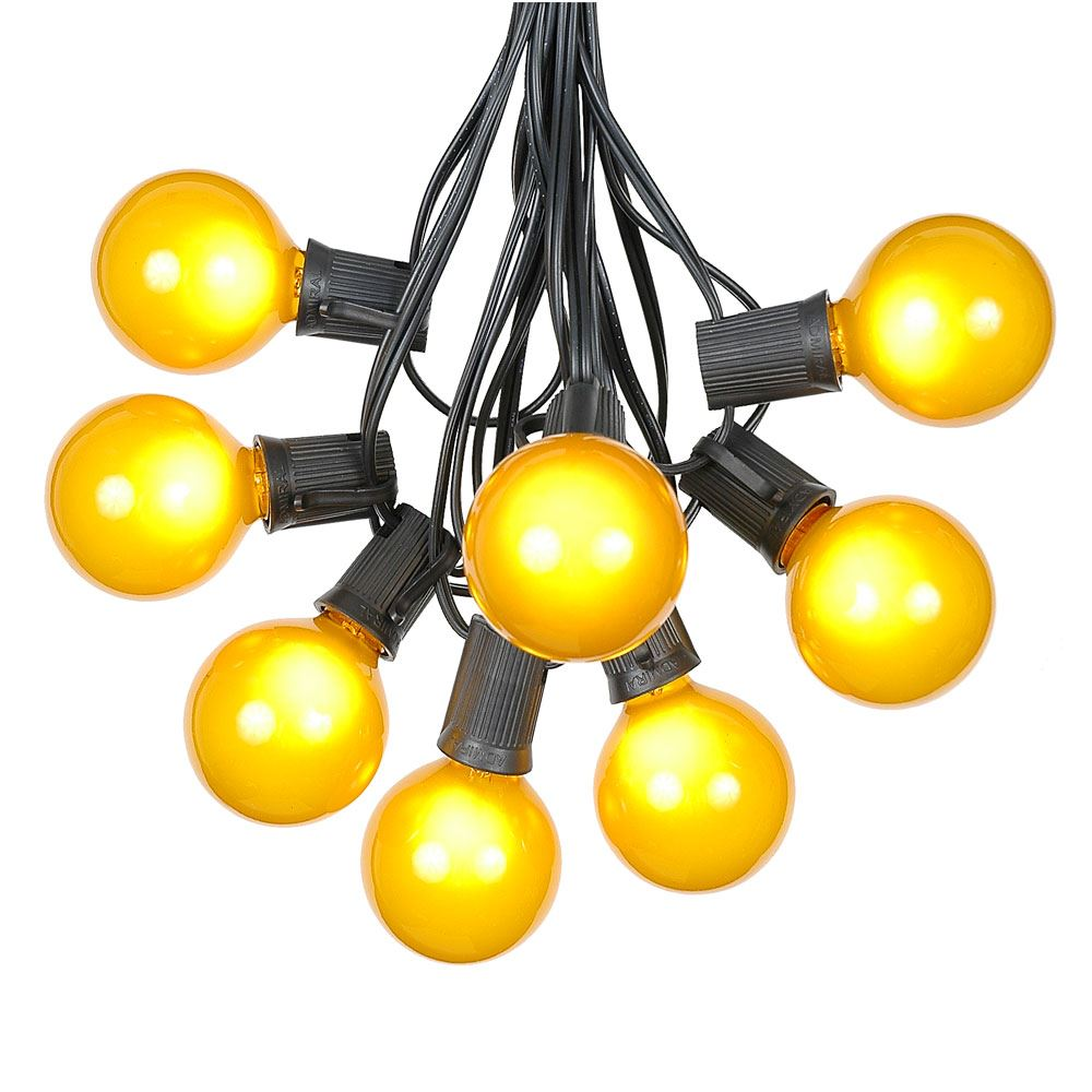 Picture of 25 G50 Globe Light String Set with Yellow Bulbs on Black Wire