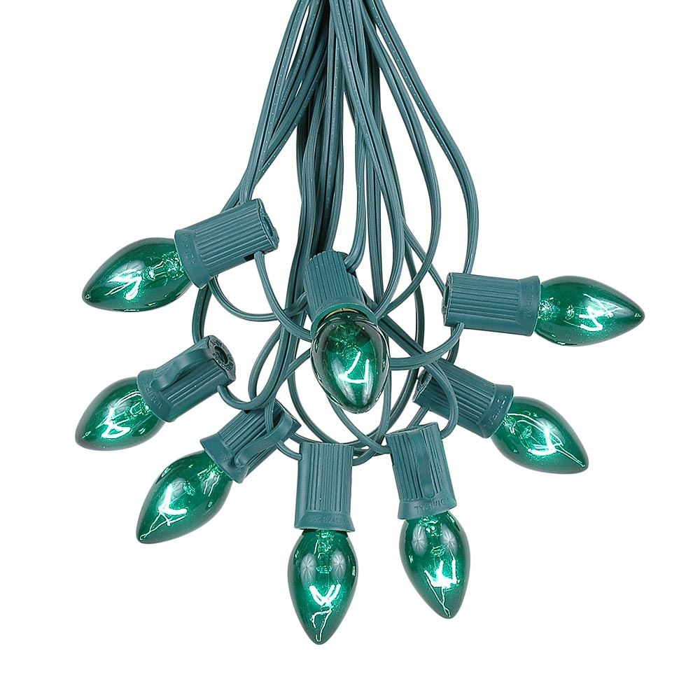 Picture of 100 C7 String Light Set with Green Bulbs on Green Wire