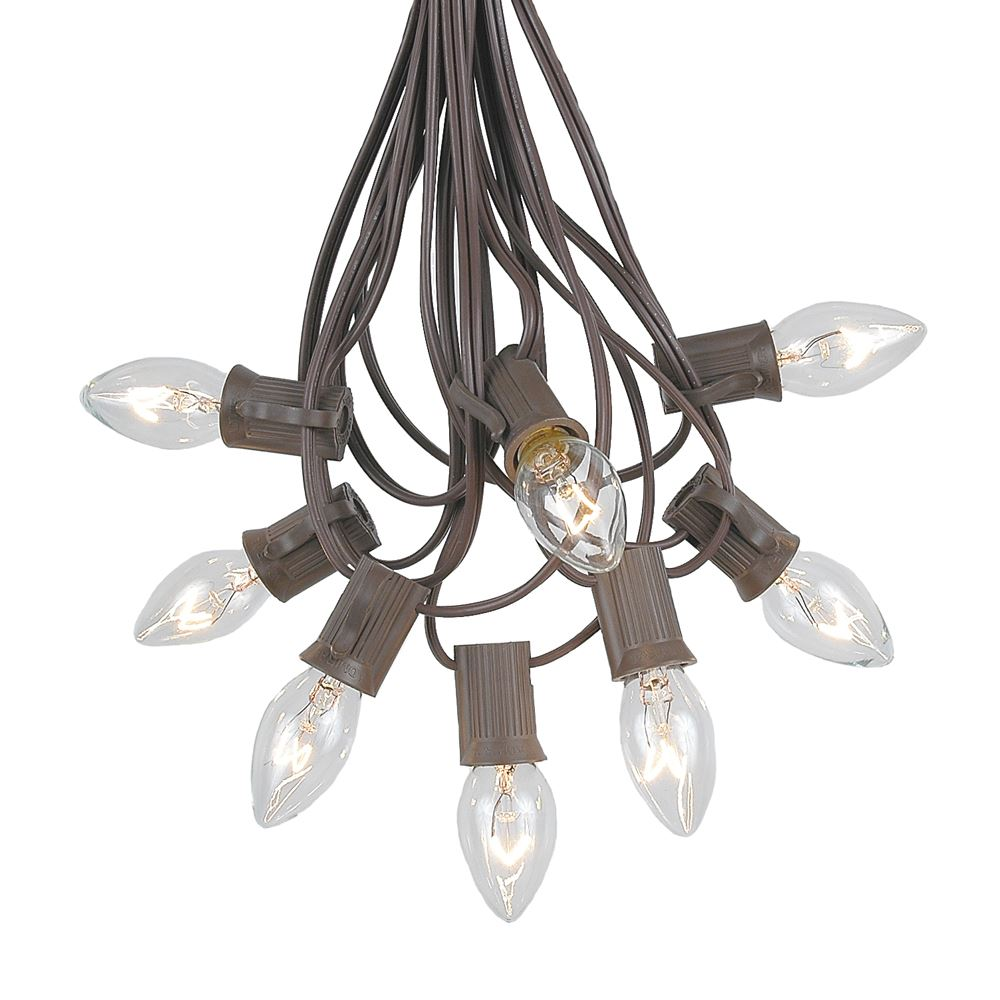 Picture of 100 C7 String Light Set with Clear Bulbs on Brown Wire