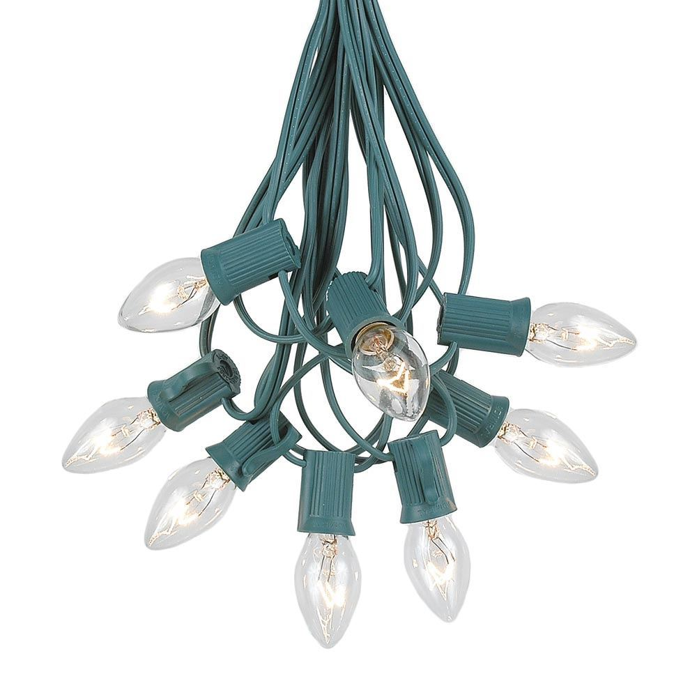 Picture of C7 25 Light String Set with Clear Twinkle Bulbs on Green Wire