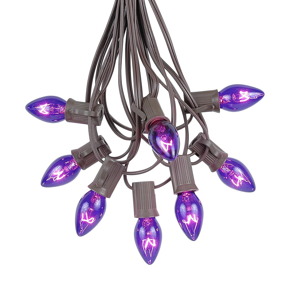 Picture of C7 25 Light String Set with Purple Twinkle Bulbs on Brown Wire