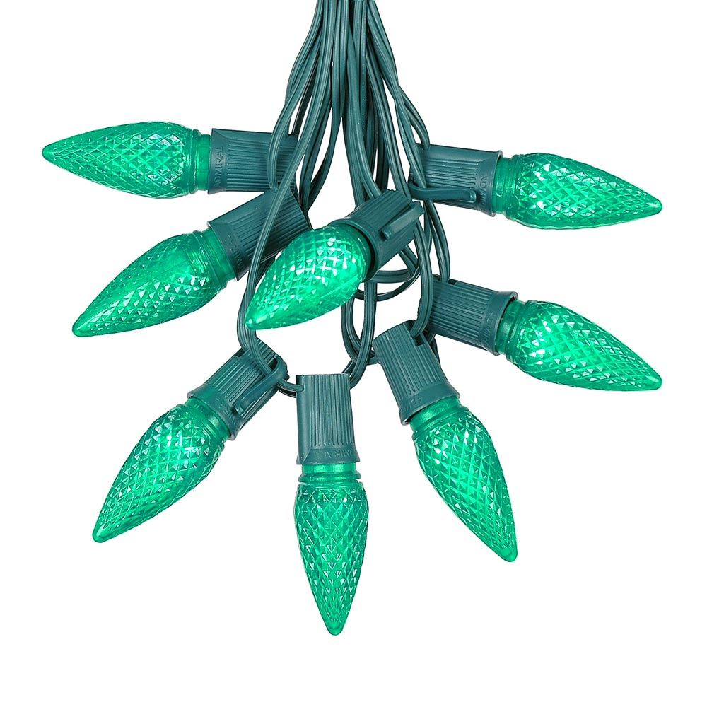 Picture of 25 Light String Set with Green LED C9 Bulbs on Green Wire