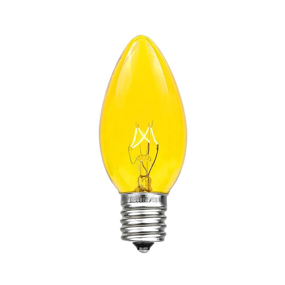 25 Pack Of Transparent Yellow C9 Christmas Replacement Lamps