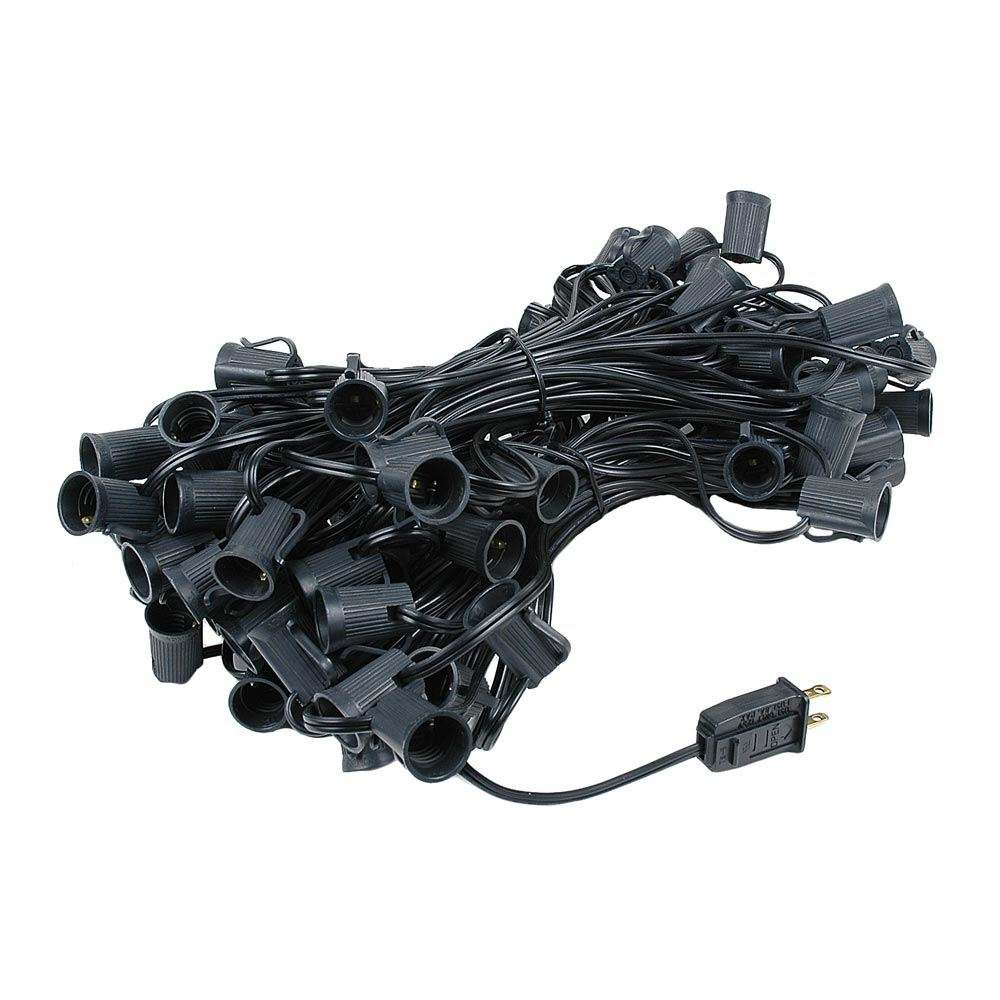 Picture of C9 100' String on Black Wire, 100 Sockets