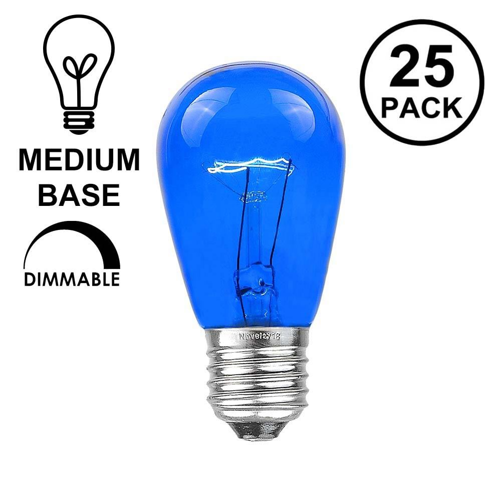 Picture of 25 Pack of Transparent Blue S14 11 Watt Bulbs Medium Base e26