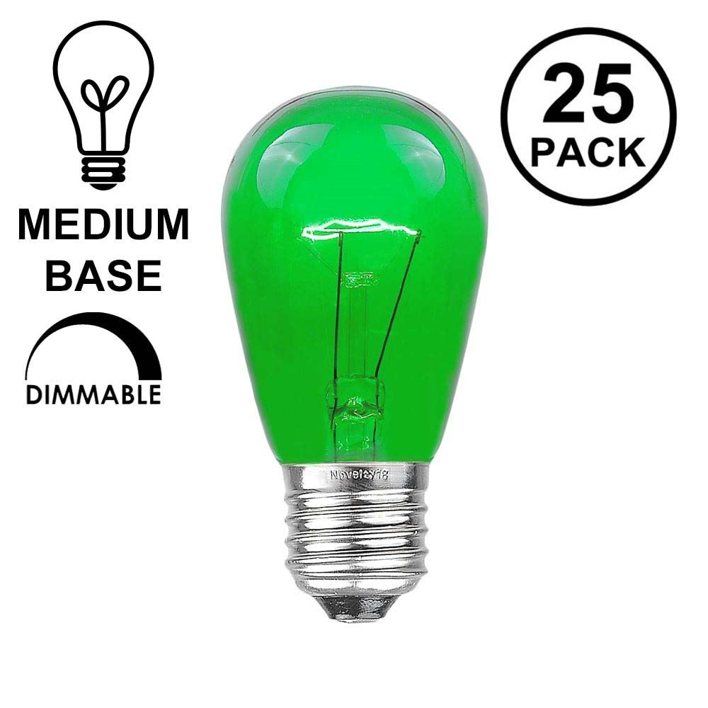 Picture of 25 Pack of Transparent Green S14 11 Watt Bulbs Medium Base e26