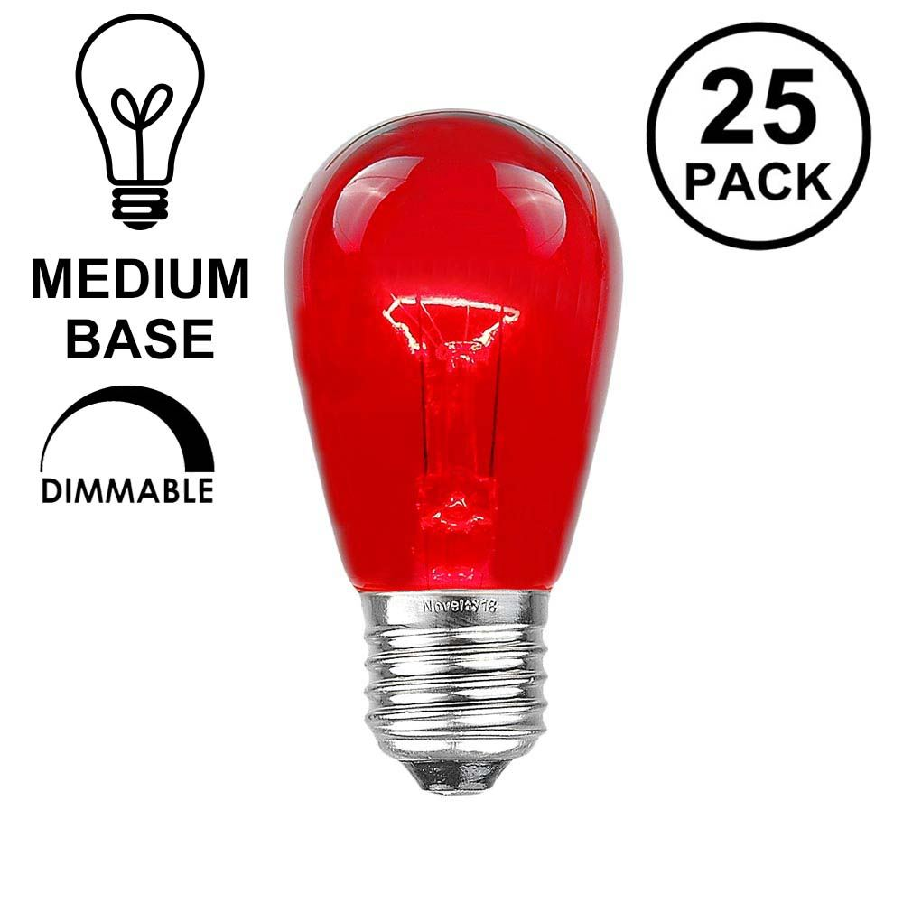 Picture of 25 Pack of Transparent Red S14 11 Watt Bulbs Meduim Base e26