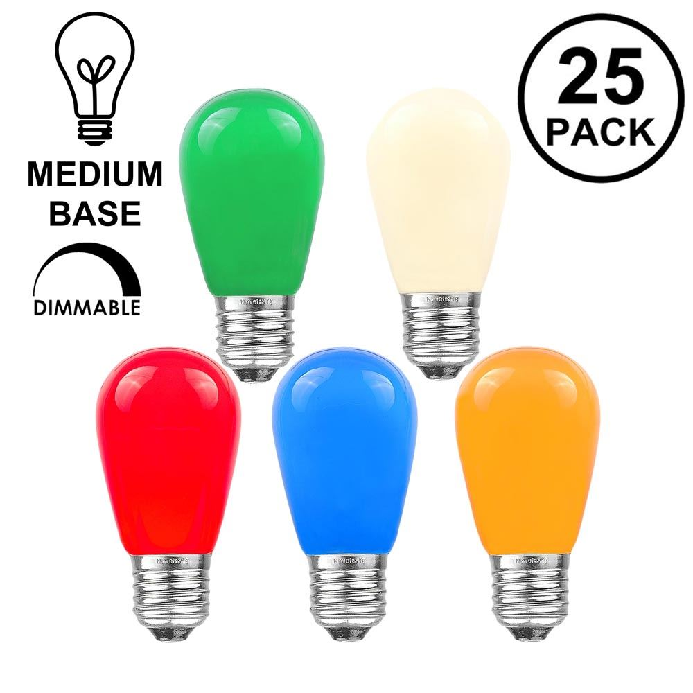 Picture of 25 Pack of Ceramic Assorted S14 11 Watt Bulbs Meduim Base e26