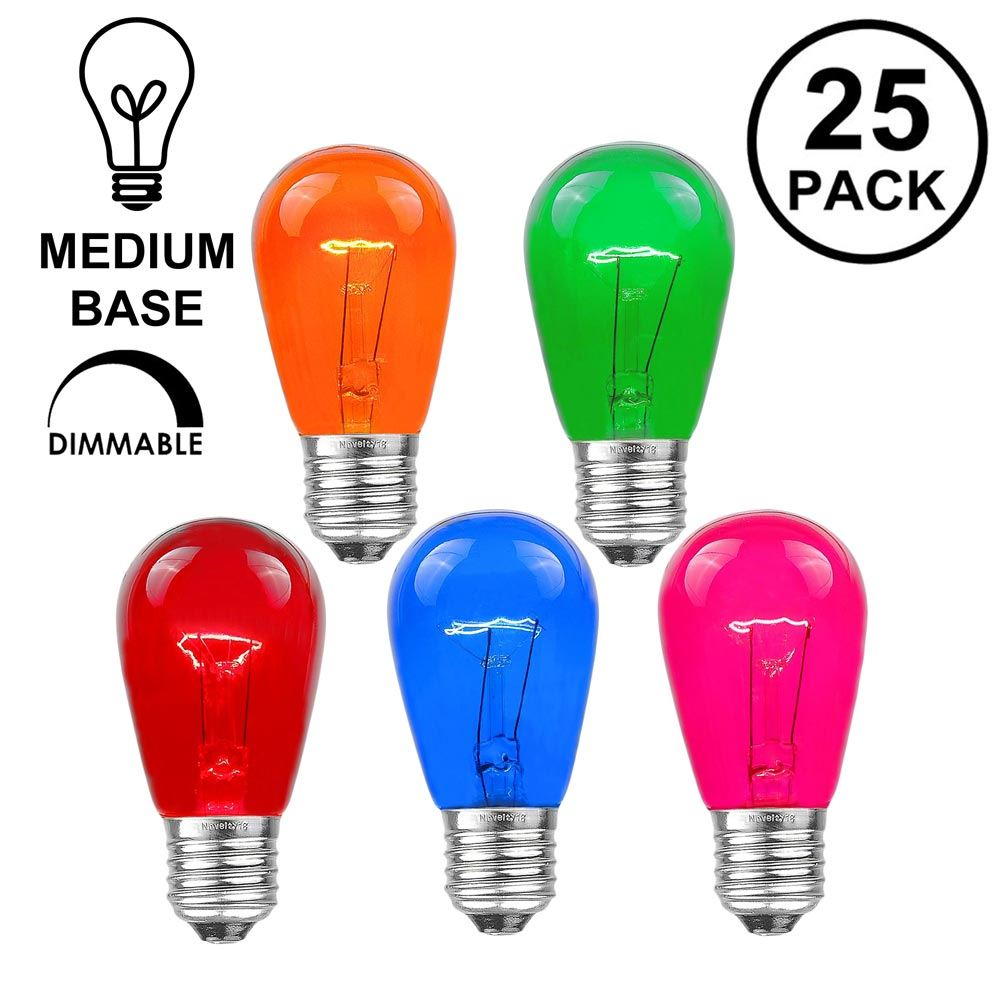 Picture of 25 Pack of Transparent Assorted S14 11 Watt Bulbs Medium Base e26