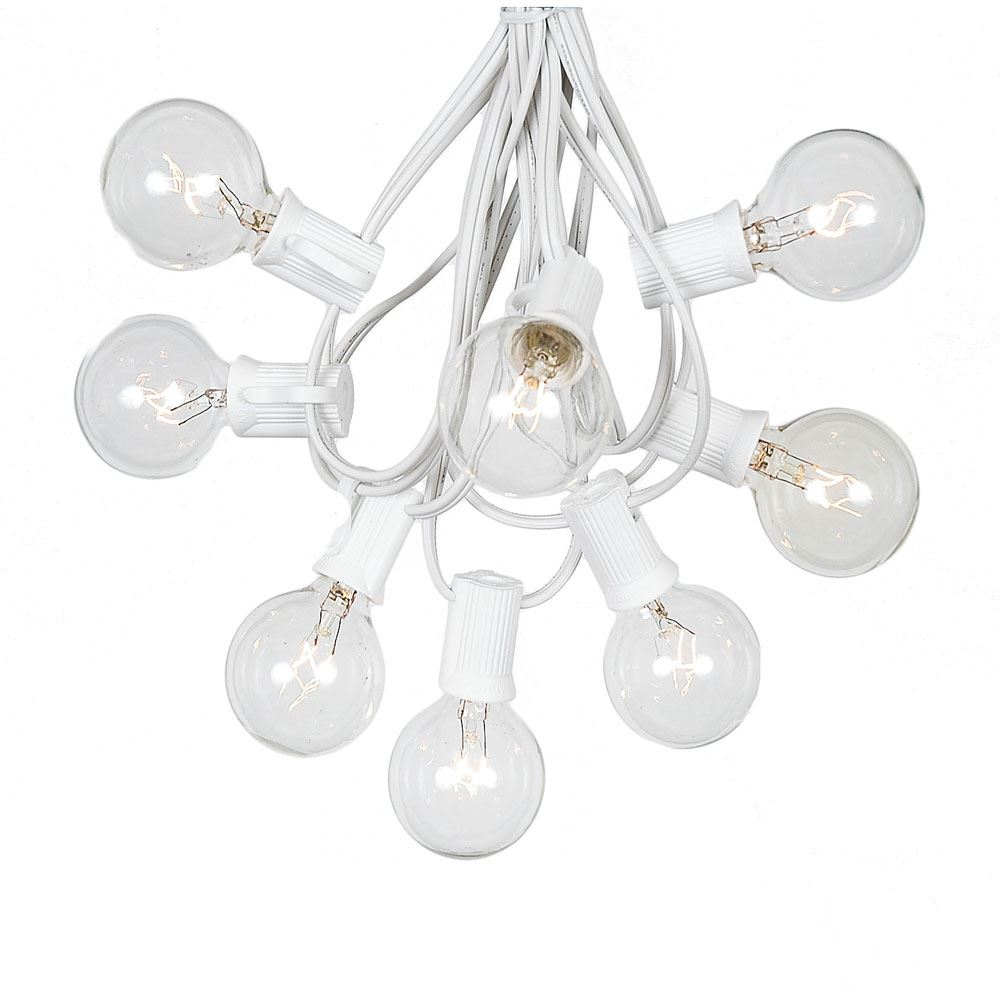 Picture of 25 G40 Globe String Light Set with Clear Bulbs on White Wire