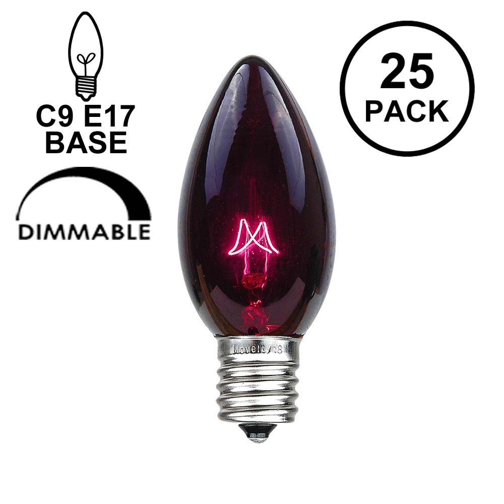 Picture of Black Light (Very Dark Purple) C9 7 Watt Replacement Bulbs 25 Pack