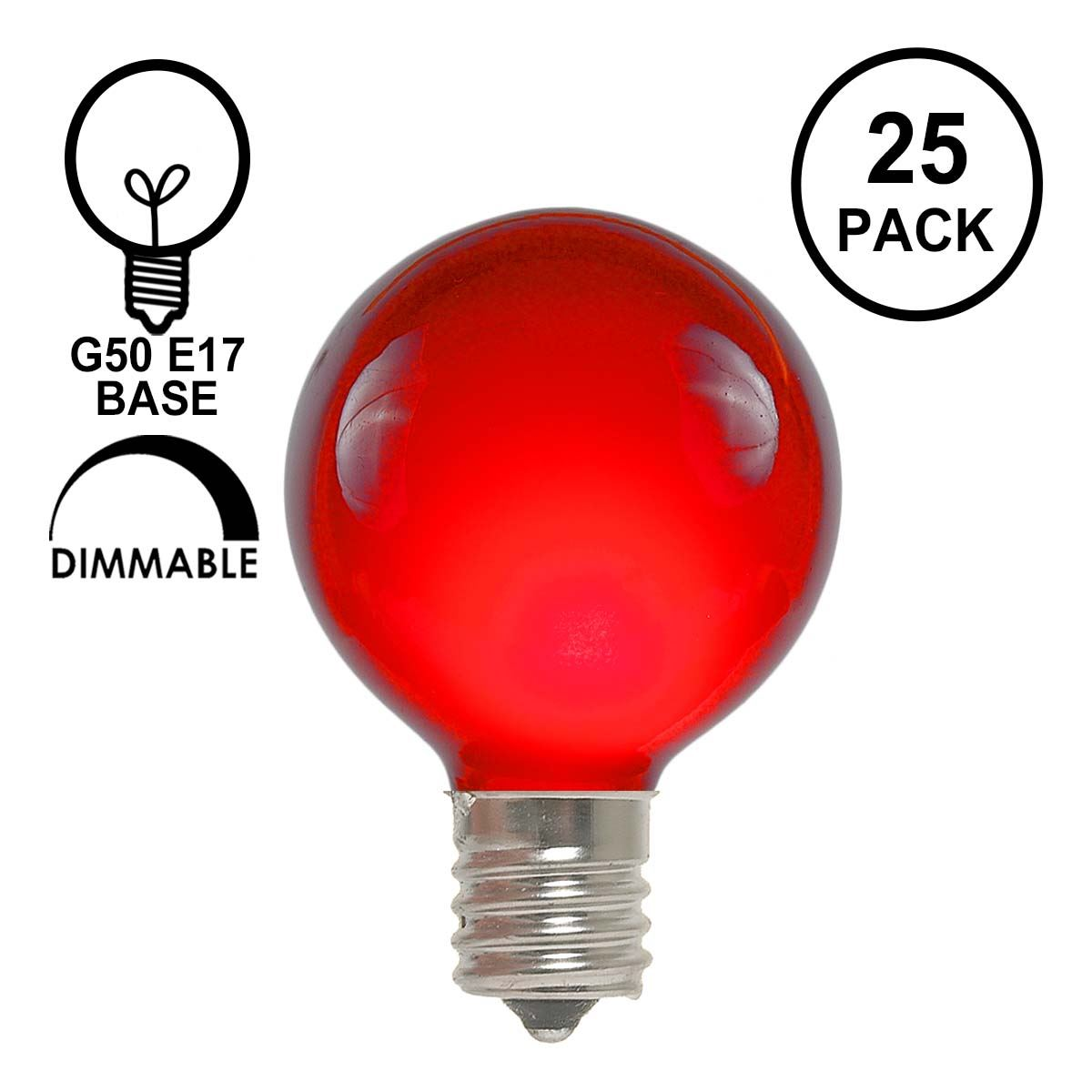 Picture of Red Satin G50 7 Watt Replacement Bulbs 25 Pack