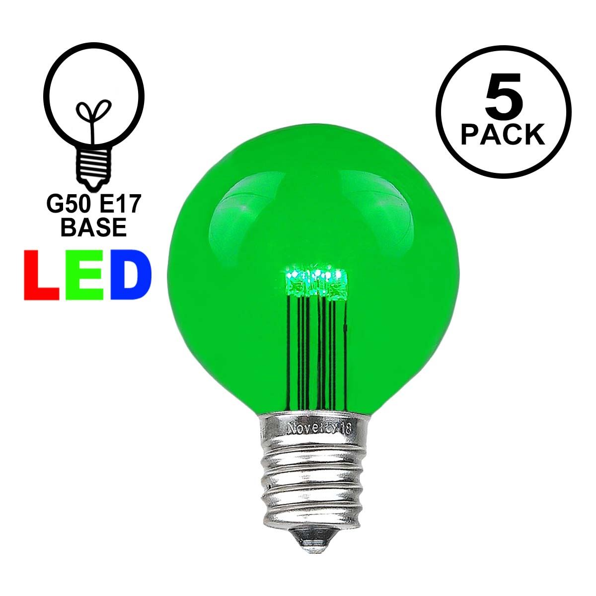 Picture of Green LED G50 Globe Bulbs - 5pk