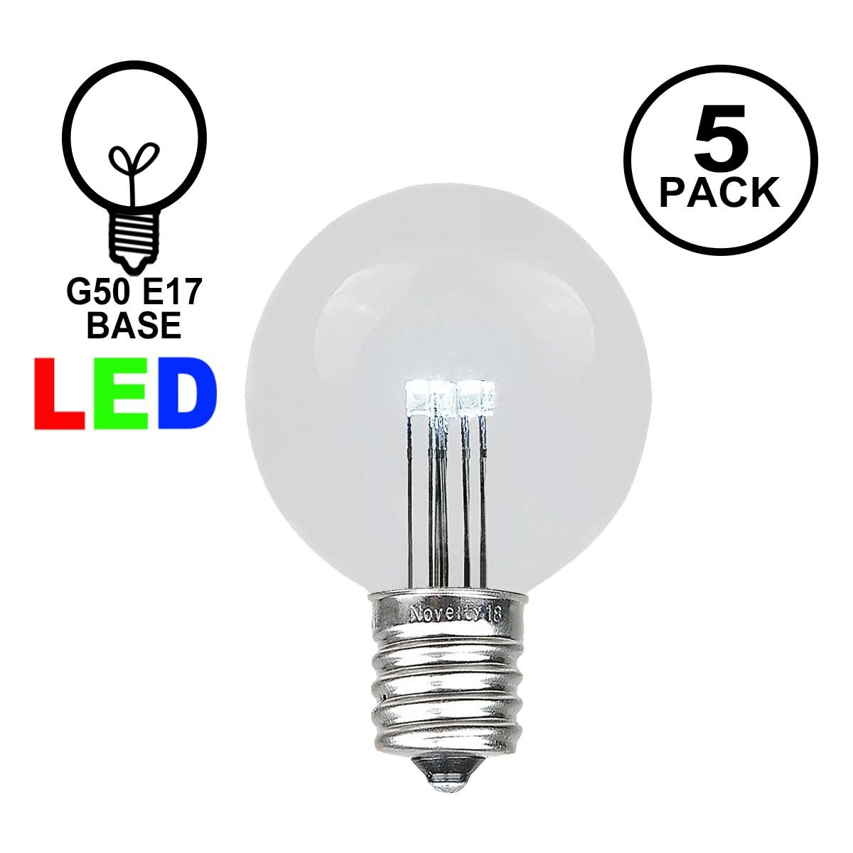Picture of Pure White LED G50 Globe Bulbs - 5pk