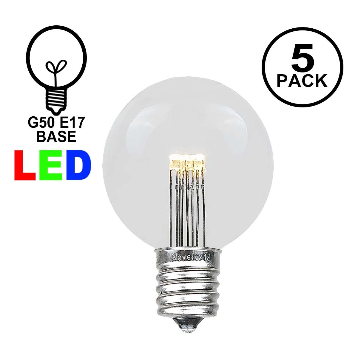 Picture of Warm White LED G50 Globe Bulbs - 5pk