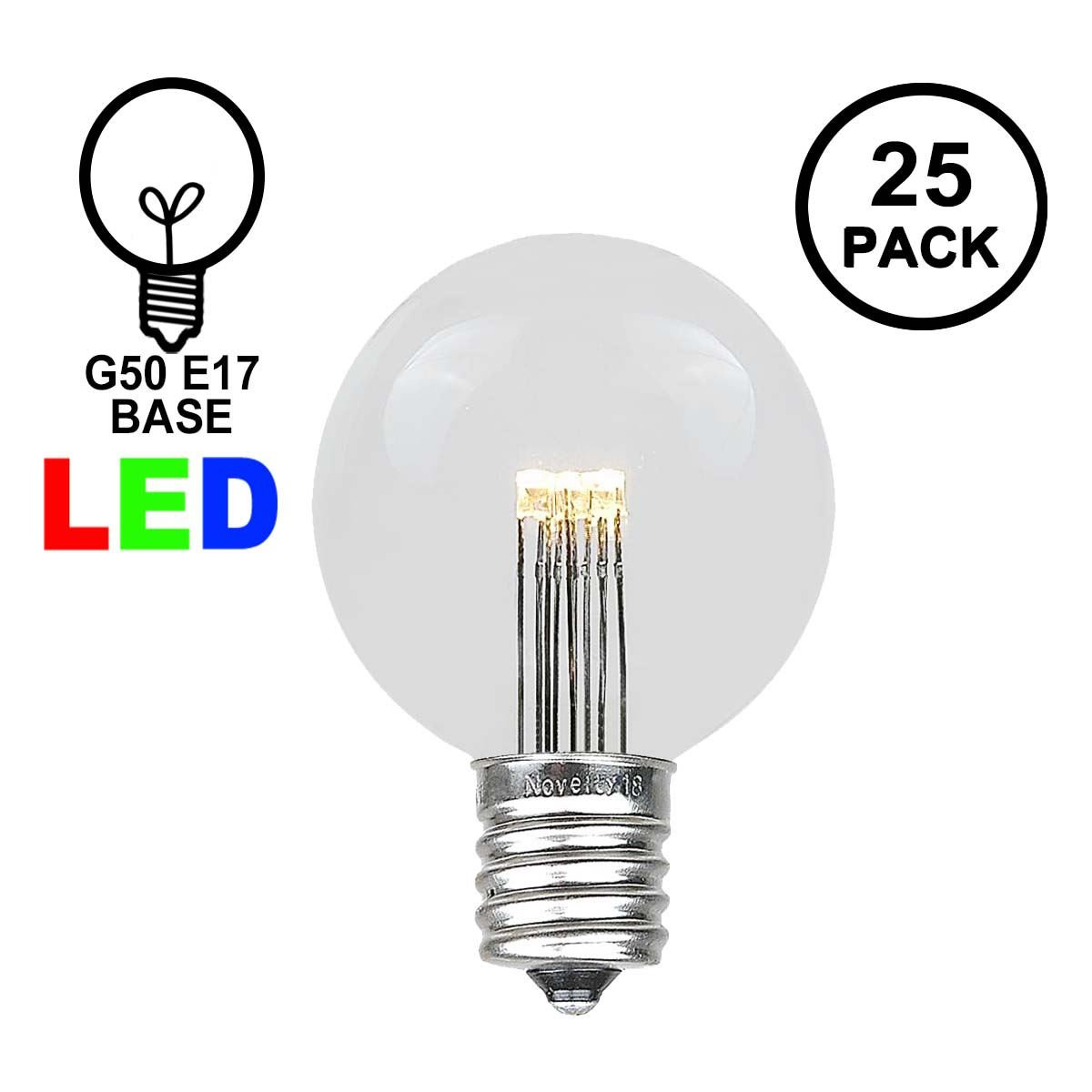 Picture of Warm White LED G50 Globe Bulbs - 25pk