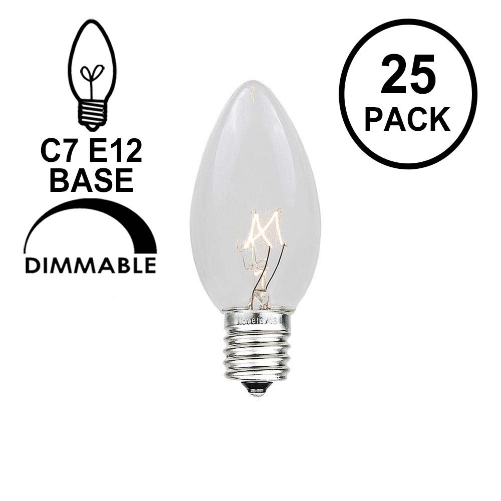 Picture of Clear Transparent C7 5 Watt Bulbs **On Sale**