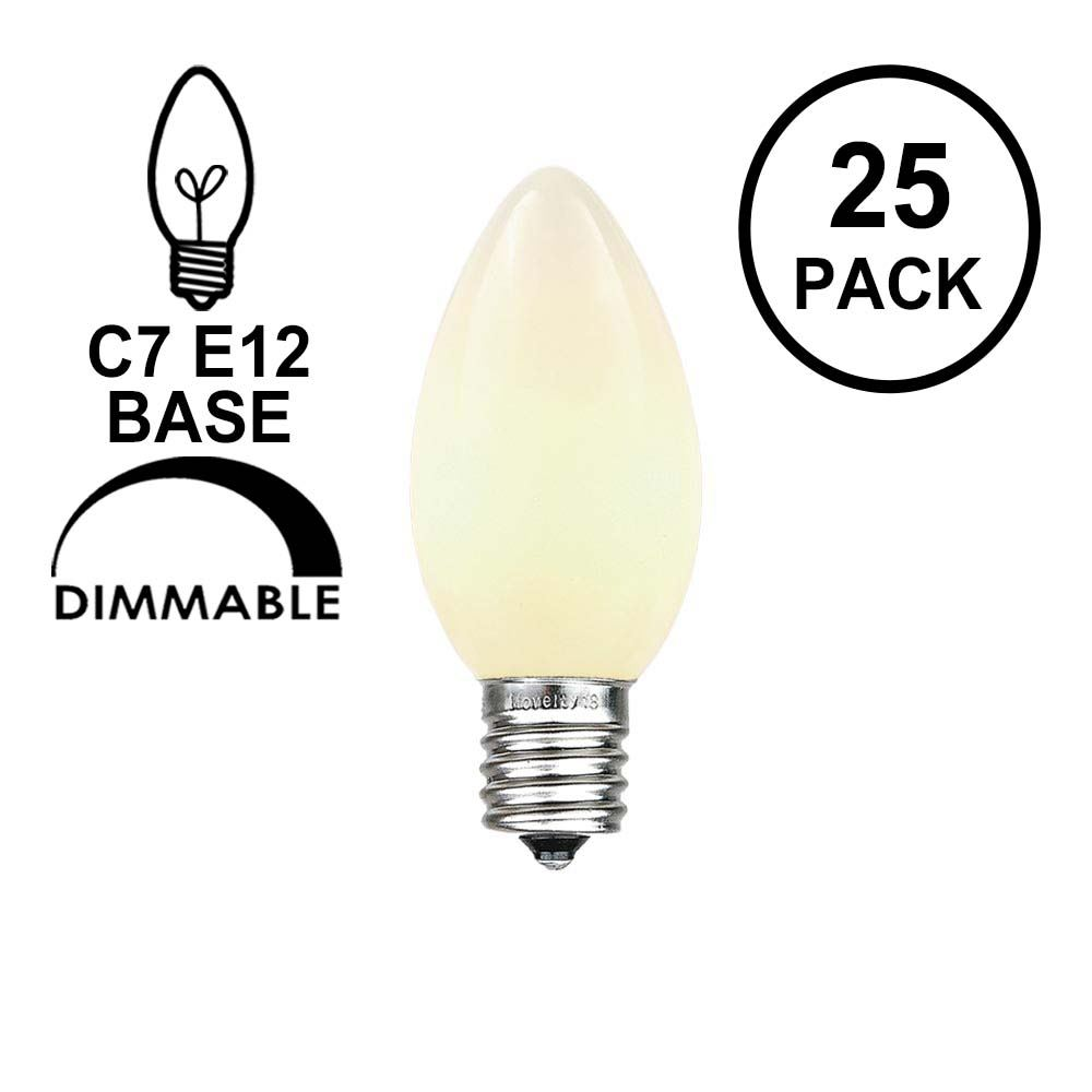 Picture of White Ceramic Opaque C7 5 Watt Replacement Bulbs 25 Pack