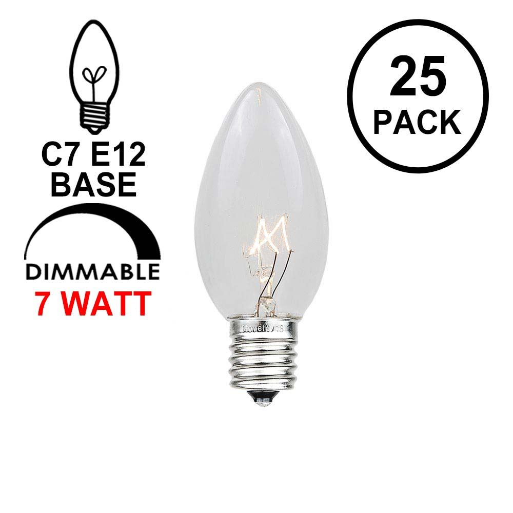 Picture of Clear Transparent C7 7 Watt Bulbs