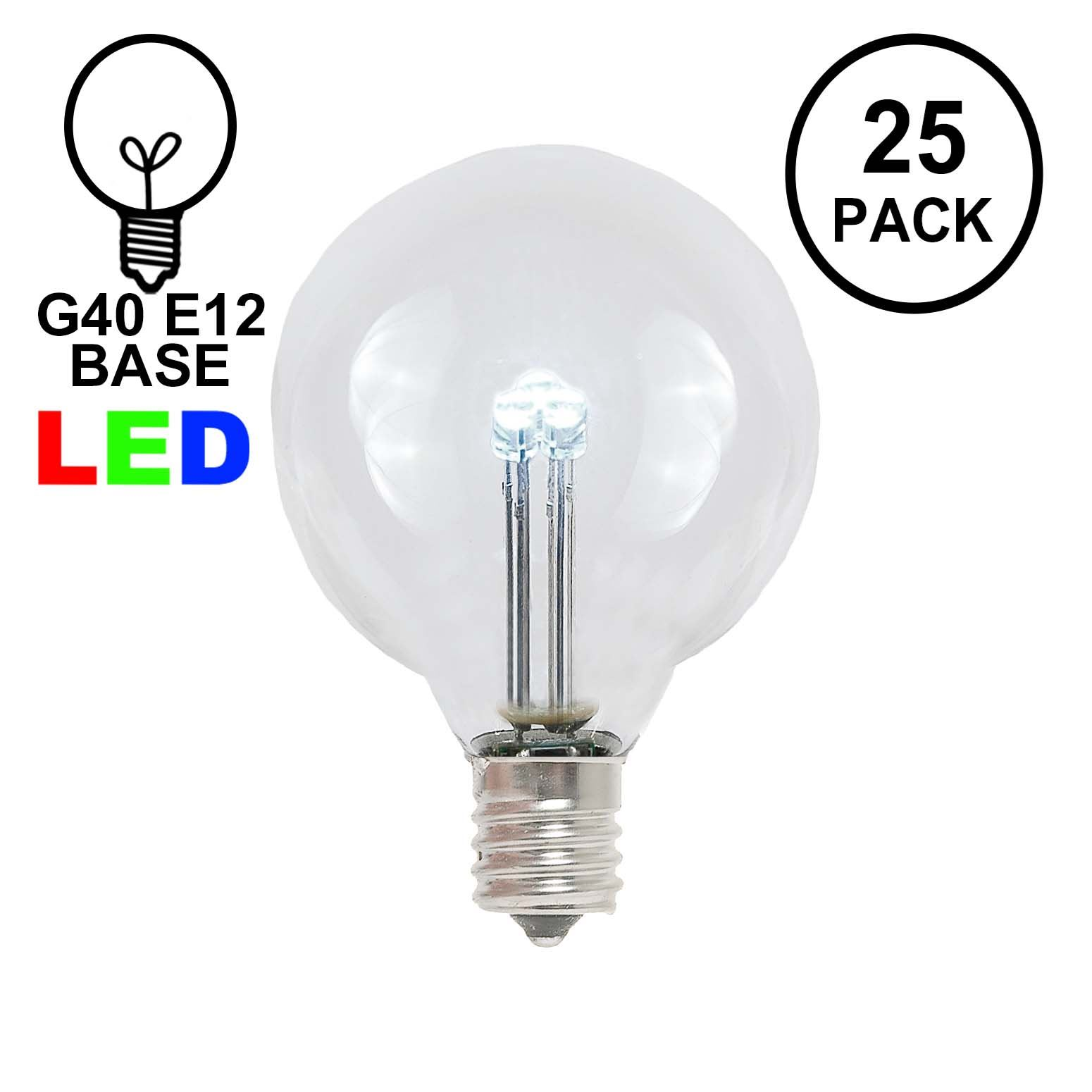 Pure White G40 Glass Led Replacement Bulbs 25 Pack