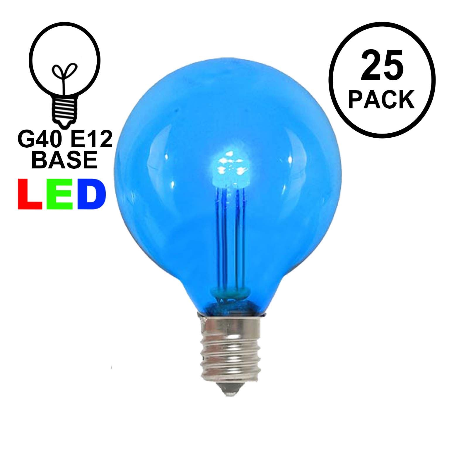 Picture of Blue - G40 - Glass LED Replacement Bulbs - 25 Pack