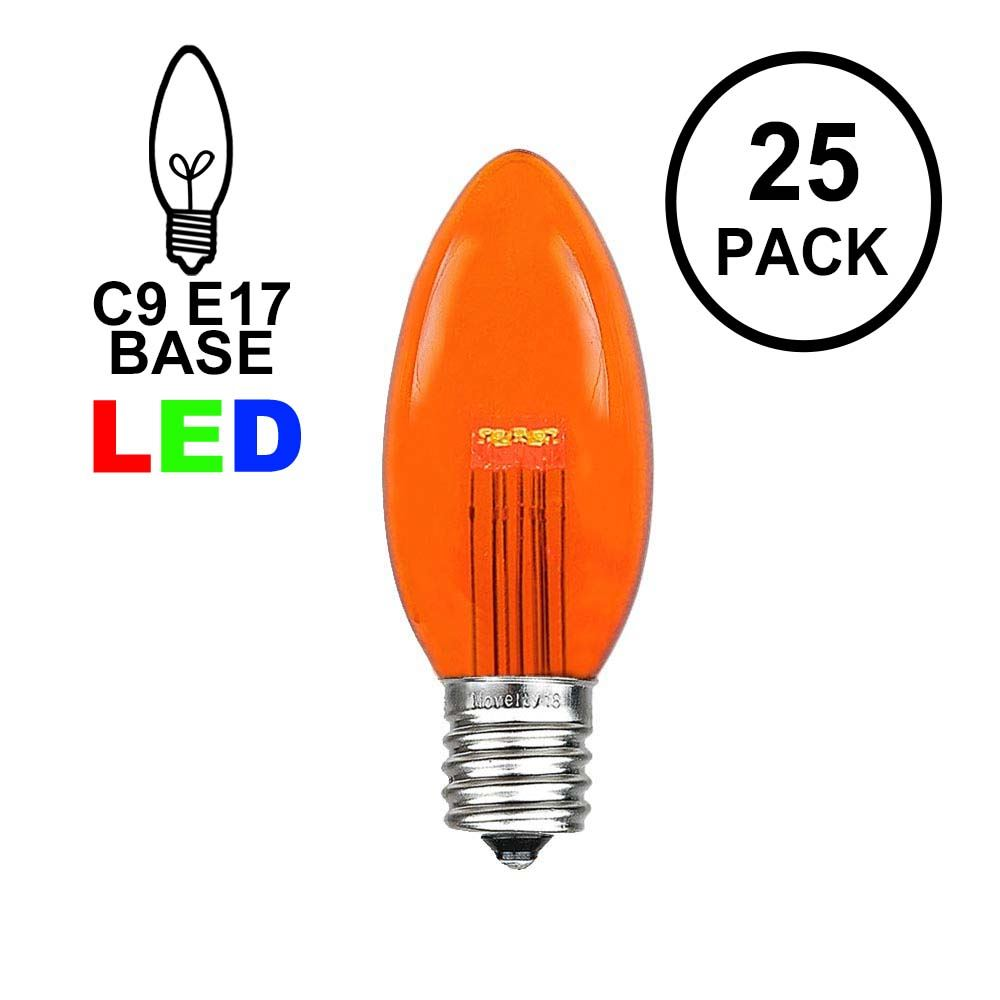 Picture of Amber (Orange)  Smooth Glass C9 LED Bulbs - 25k