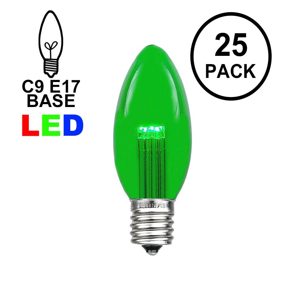 Picture of Green Smooth Glass C9 LED Bulbs - 25pk