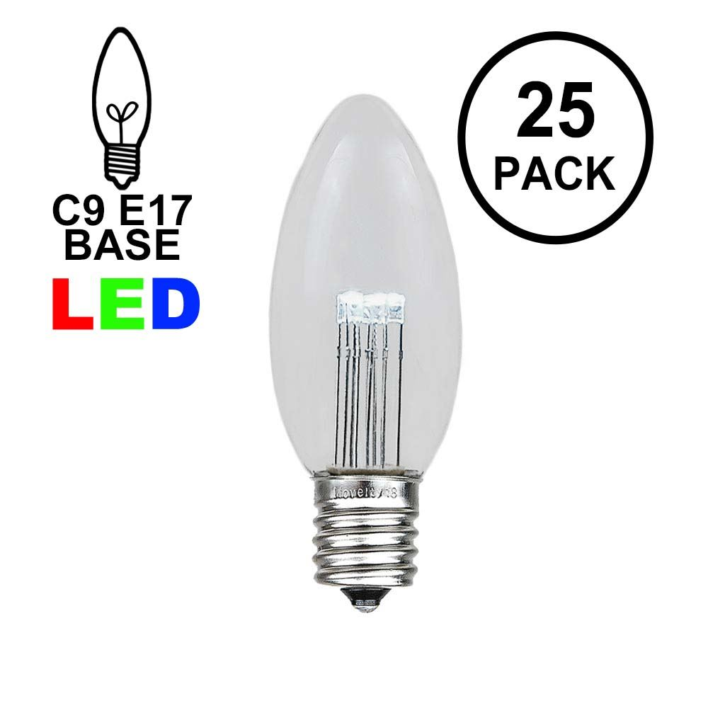 Picture of Pure White Smooth Glass C9 LED Bulbs - 25pk