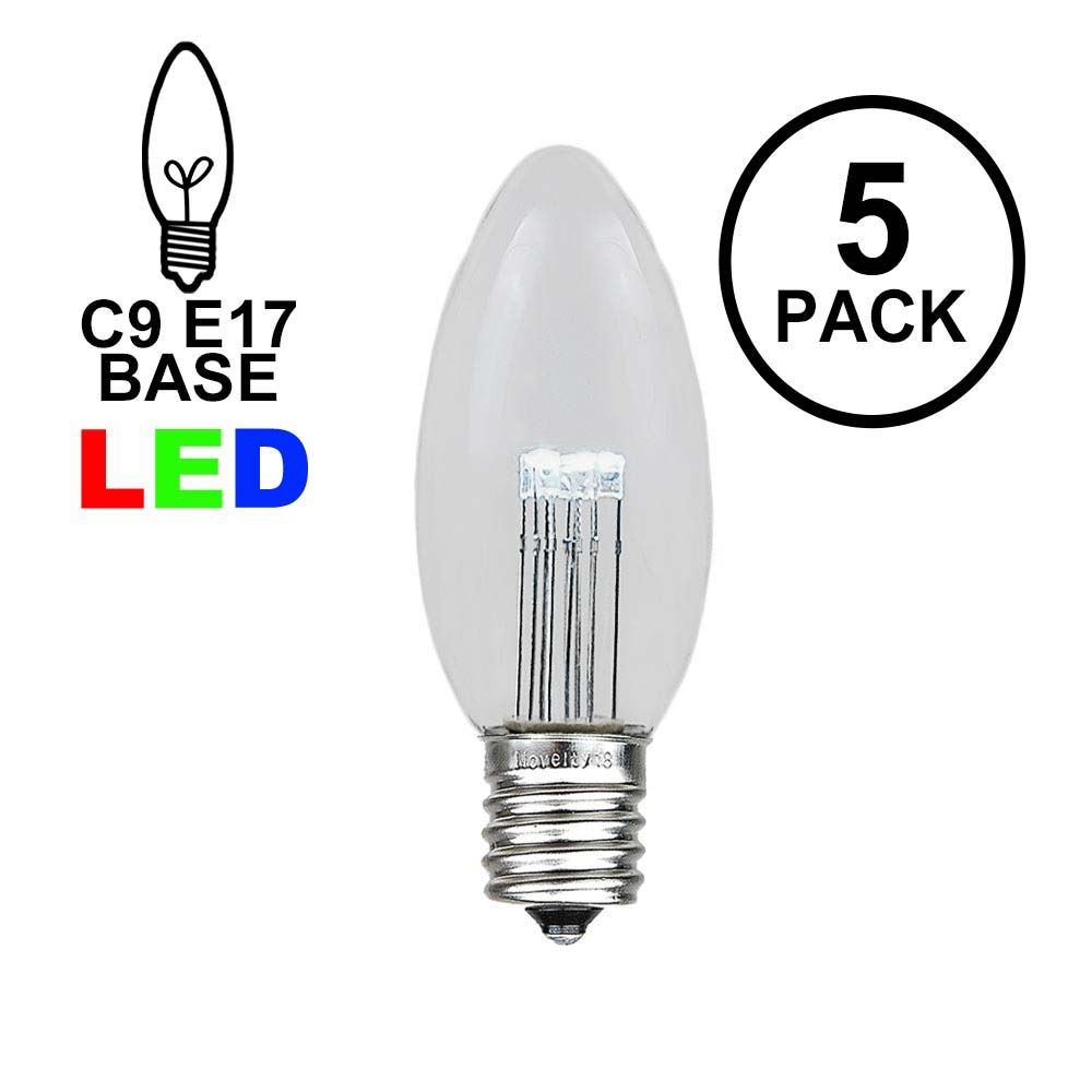 Picture of Warm White Smooth Glass C9 LED Bulbs - 5pk