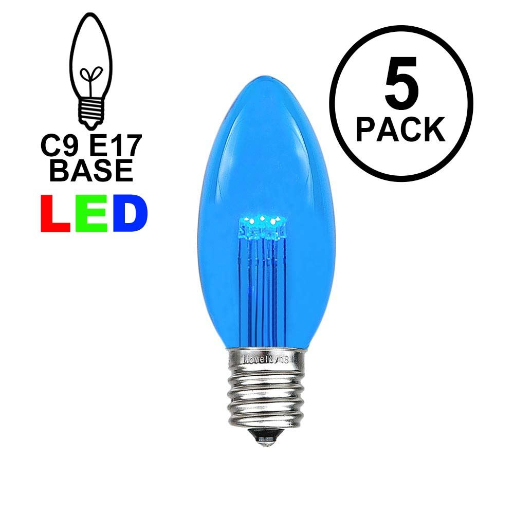 Picture of Blue Smooth Glass C9 LED Bulbs - 5pk
