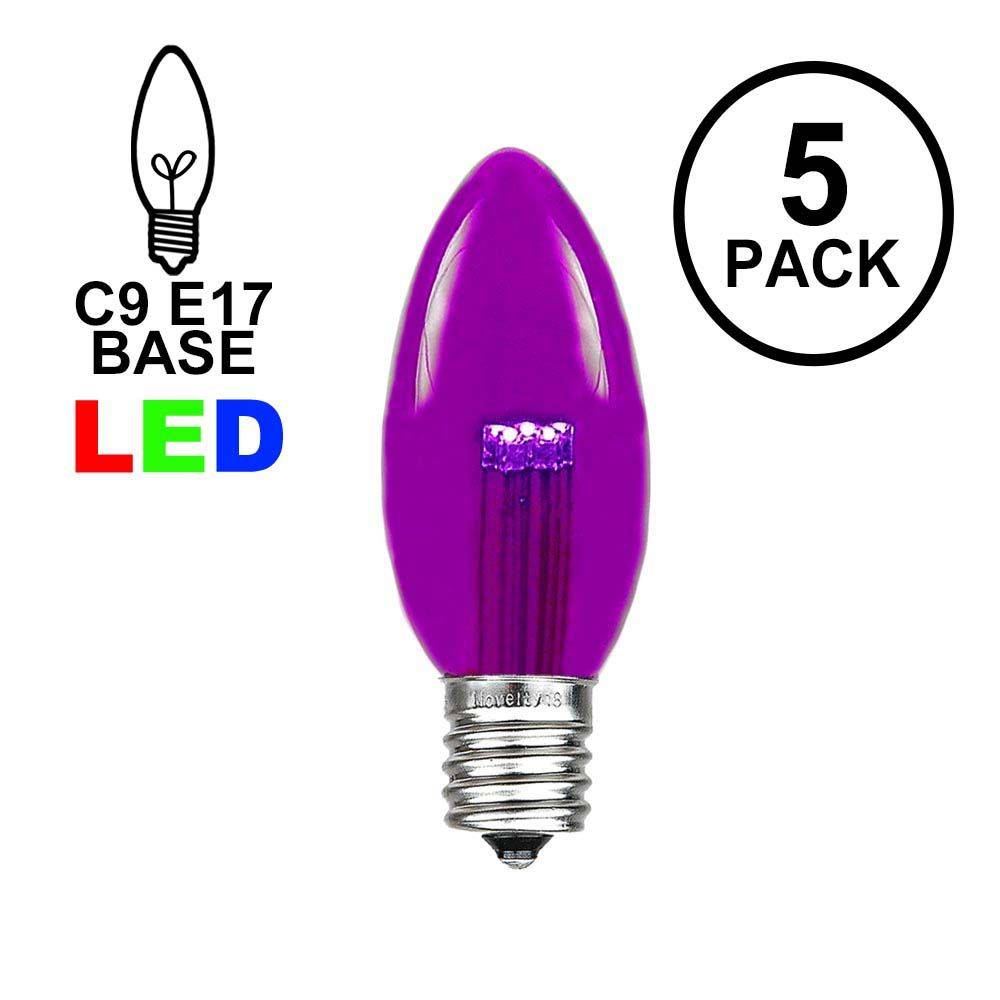 Picture of Purple Smooth Glass C9 LED Bulbs - 5pk