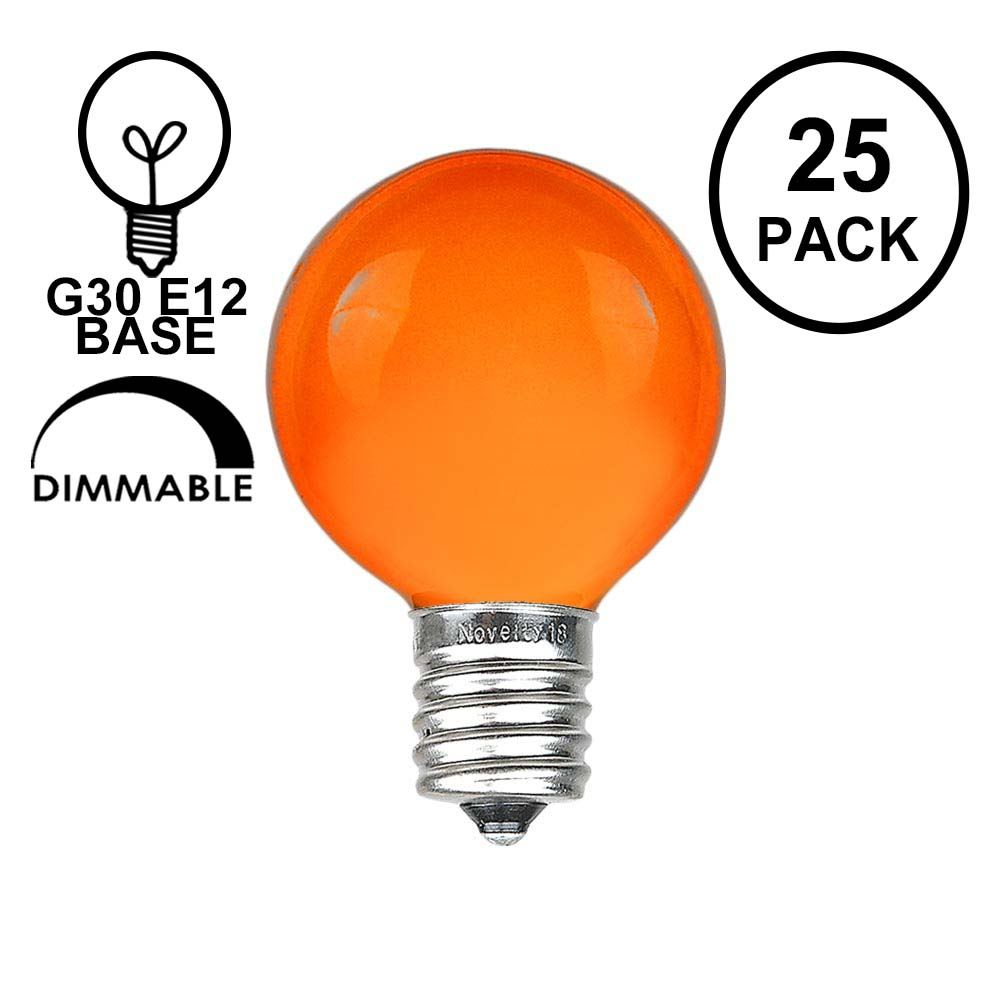 Picture of Orange Satin G30 5 Watt Replacement Bulbs 25 Pack