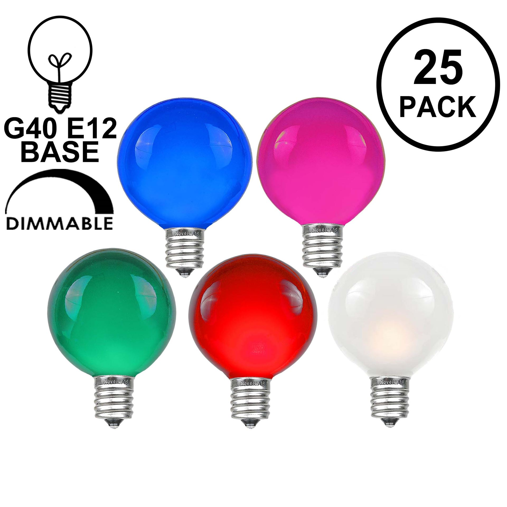 Picture of Multi Satin G40 Globe Replacement Bulbs 25 Pack