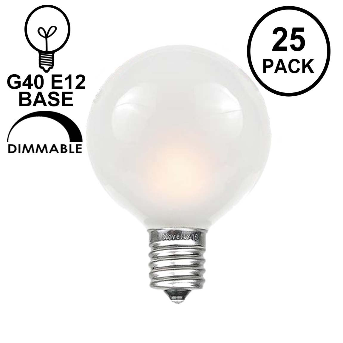 Picture of Frosted White G40 Globe Replacement Bulbs 25 Pack