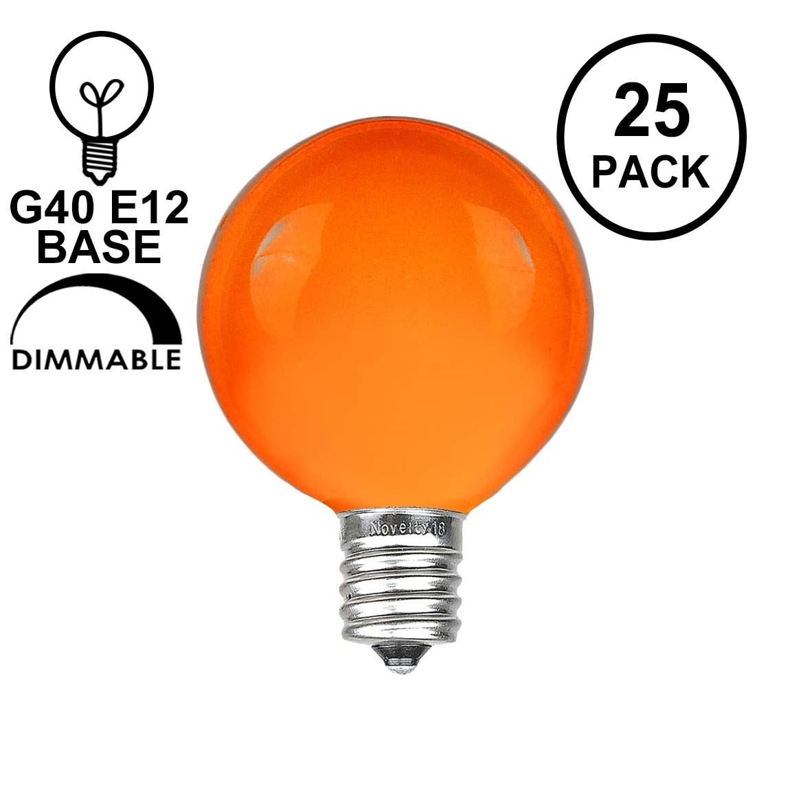 Picture of Orange Satin G40 Globe Replacement Bulbs 25 Pack