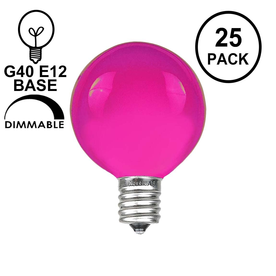 Picture of Purple Satin G40 Globe Replacement Bulbs 25 Pack