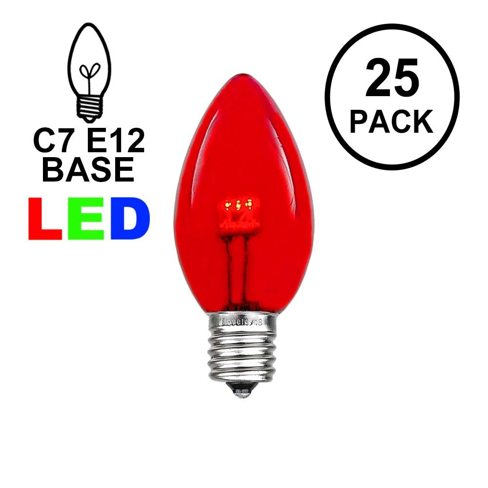 Picture of C7 - Red - Glass LED Replacement Bulbs - 25 Pack