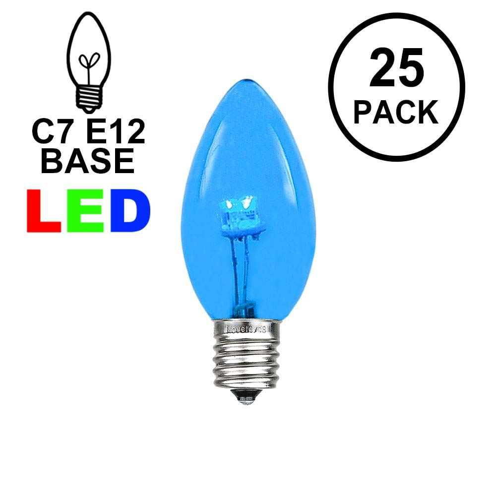 Picture of C7 - Blue - Glass LED Replacement Bulbs - 25 Pack