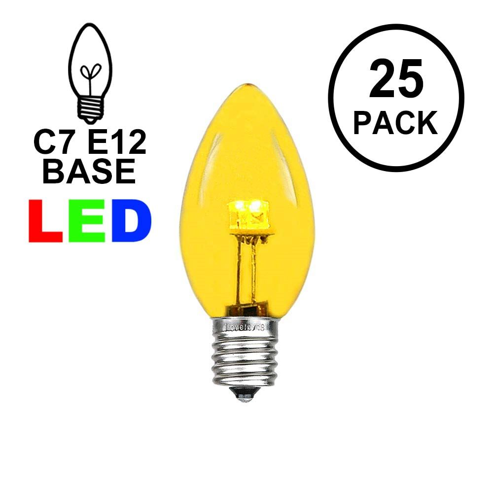 Picture of C7 - Yellow - Glass LED Replacement Bulbs - 25 Pack