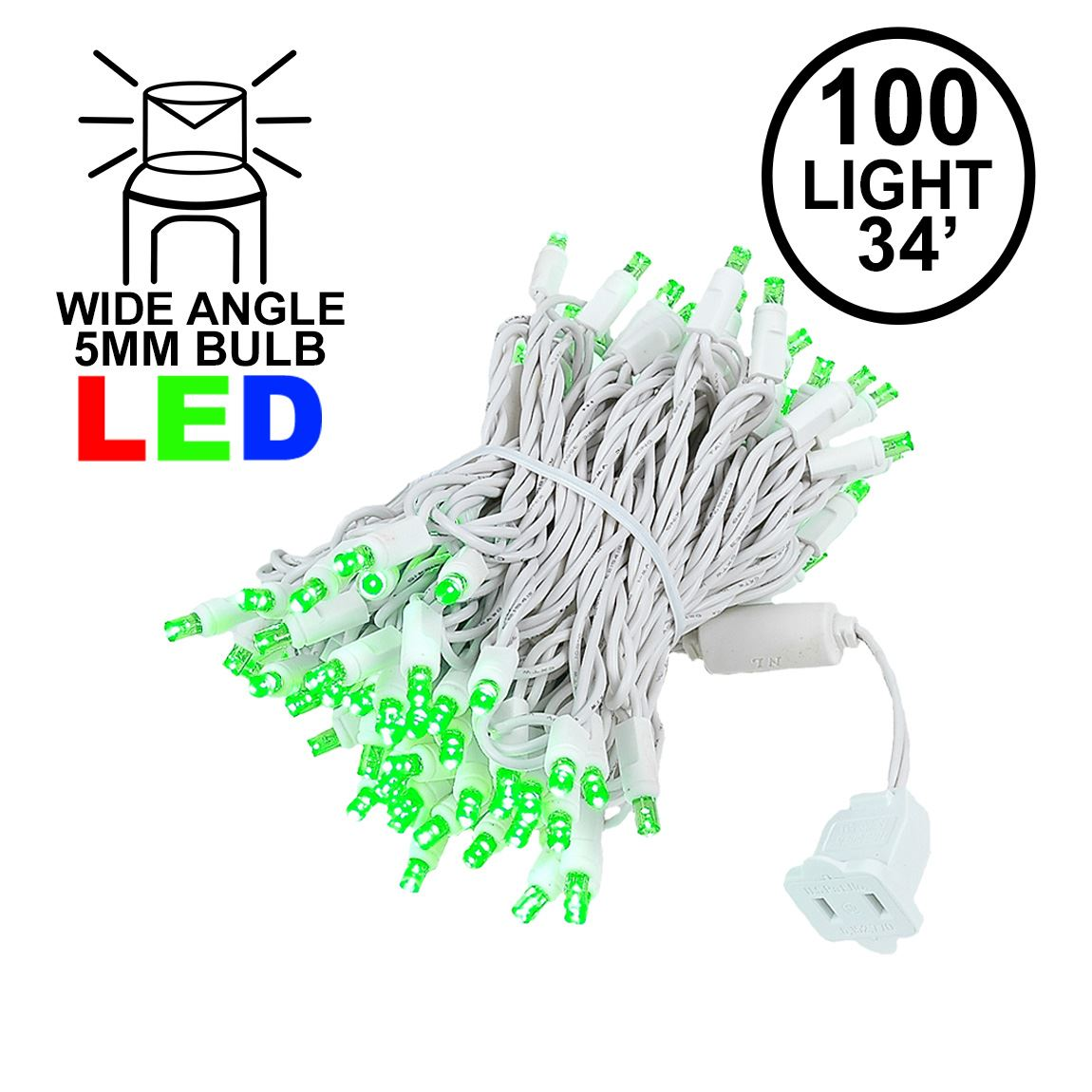 Picture of Commercial Grade Wide Angle 100 LED Green 34' Long White Wire