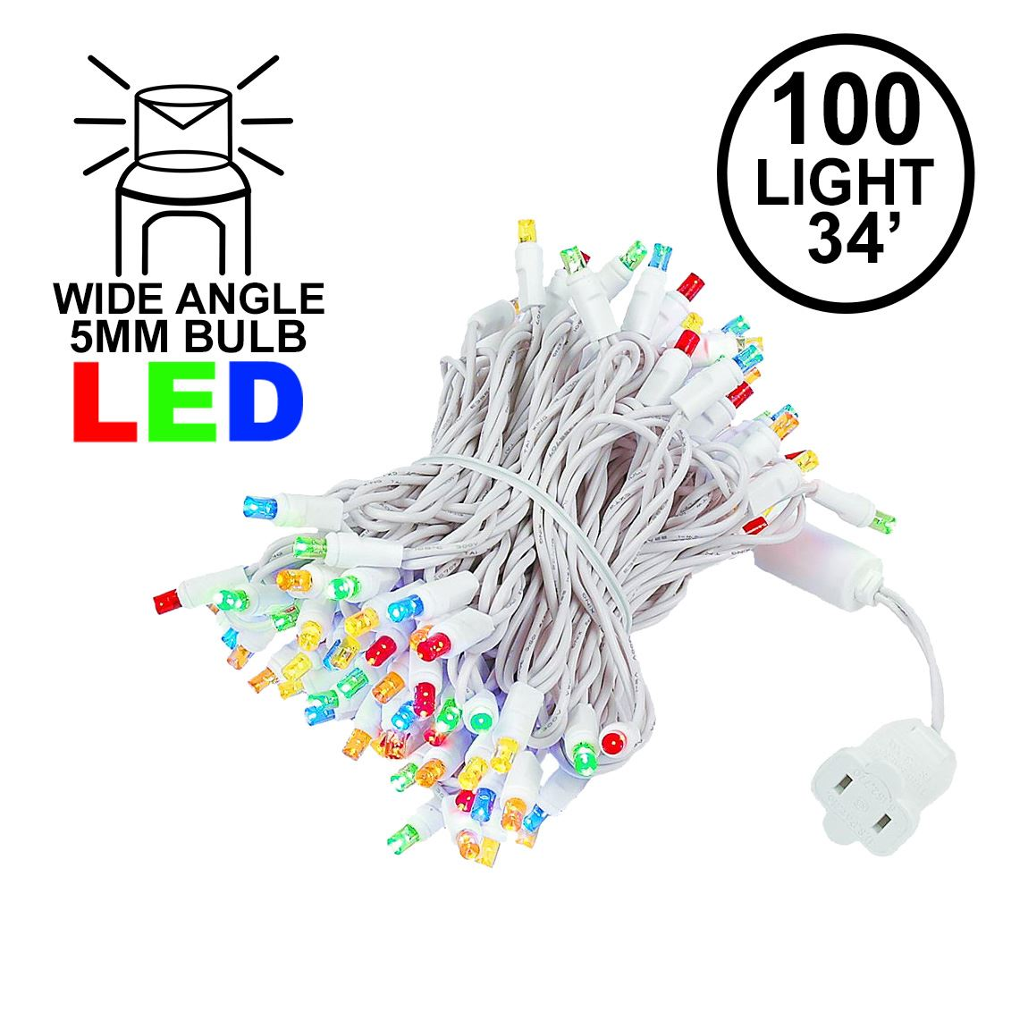 Picture of Commercial Grade Wide Angle 100 LED Multi 34' Long White Wire