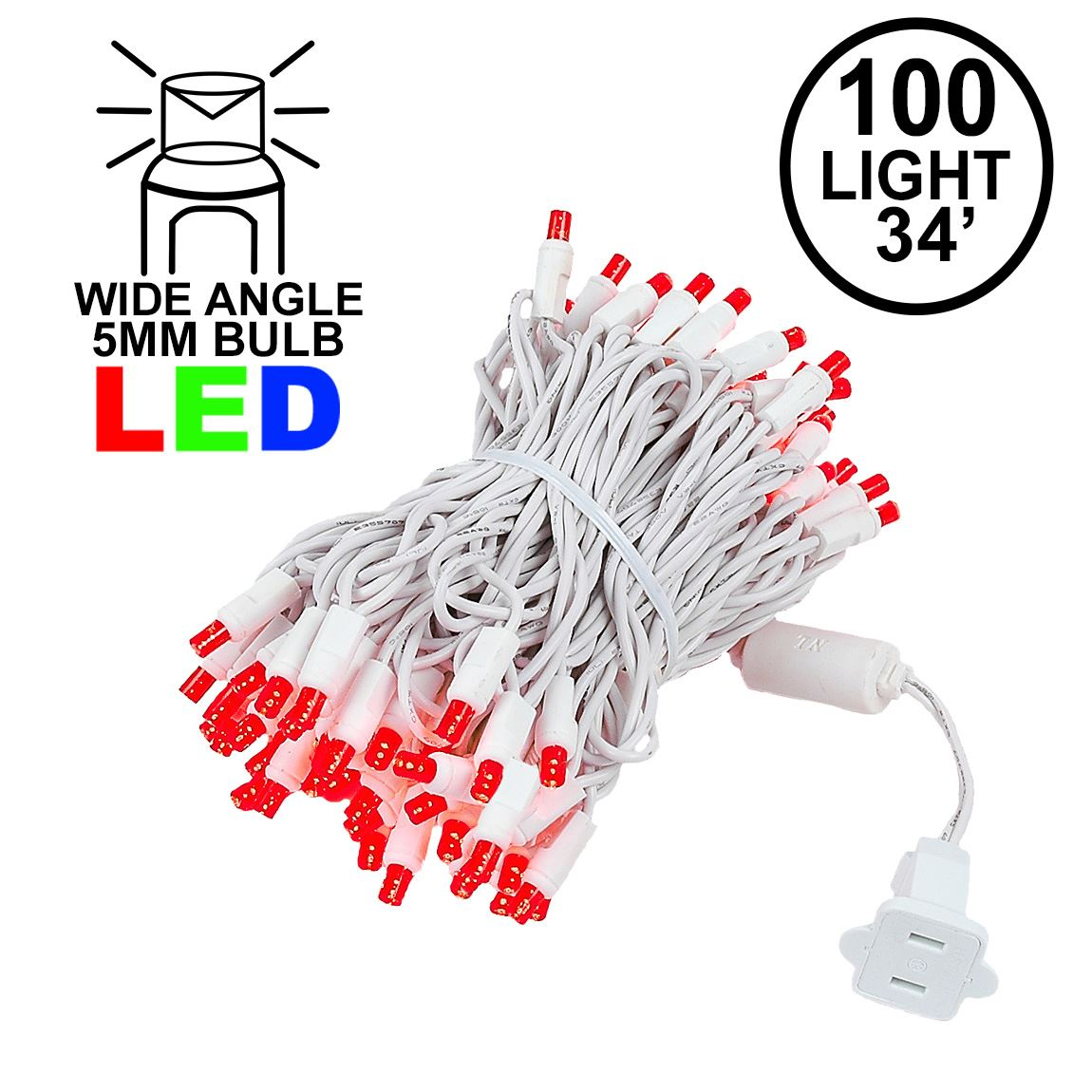 Picture of Commercial Grade Wide Angle 100 LED Red 34' Long White Wire