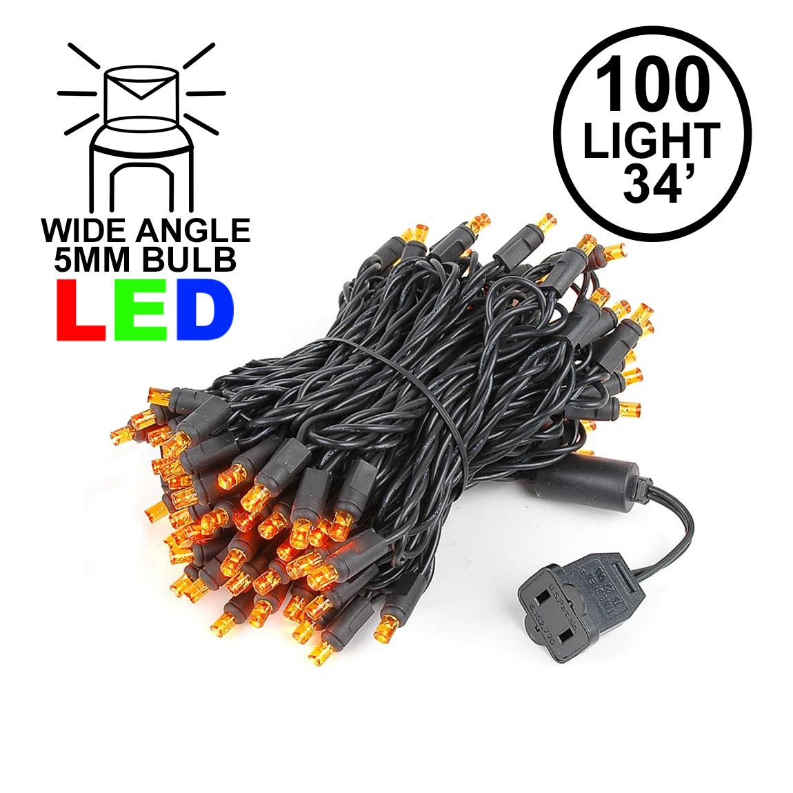 Picture of Commercial Grade Wide Angle 100 LED Orange 34' Long Black Wire