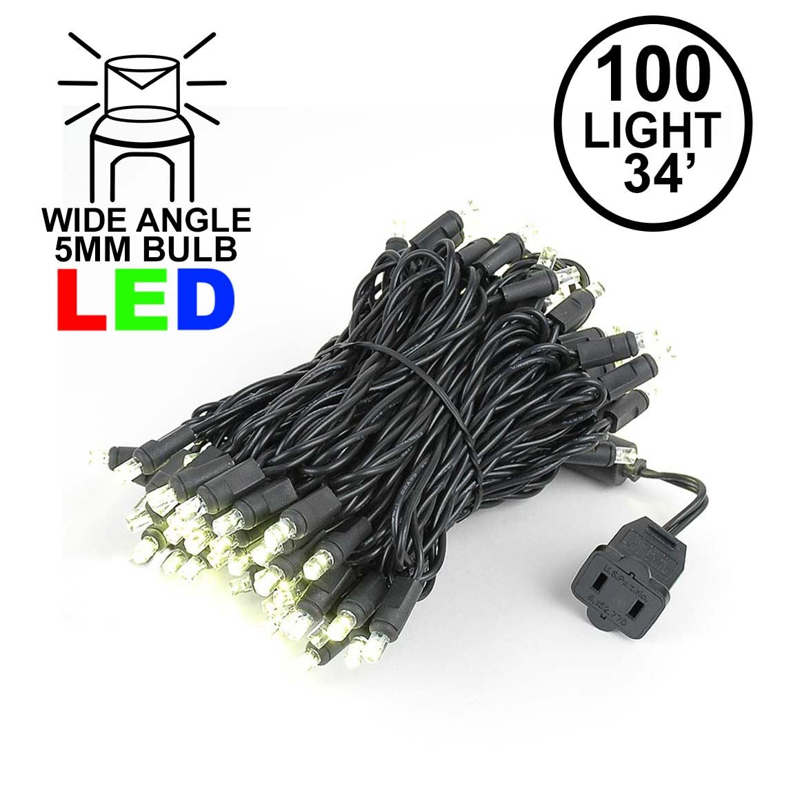 Wide Angle Warm White 100 Bulb LED Christmas Lights Sets on Black Wire